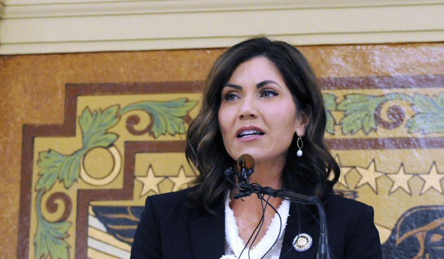 South Dakota Gov. Kristi Noem gives her first State of the State address in Pierre, S.D. South Dakota  (AP Photo/James Nord, File) **FILE**