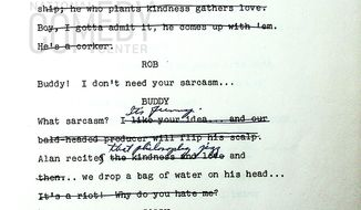 """This undated photo provided by the National Comedy Center shows a page from the script of a """"Dick Van Dyke Show"""" episode from Oct. 3, 1961 called """"The Sick Boy and the Sitter."""" Hollywood producer Carl Reiner and the National Comedy Center say they're working together to digitally preserve Reiner's collection of scripts from the 1960's """"The Dick Van Dyke Show."""" Reiner, who turned 97 on Tuesday, March 19, 2019, says creating and producing the comedy is the theatrical project he's most proud of. (National Comedy Center via AP)"""