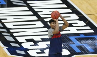 Gonzaga's Rui Hachimura shoots during practice for the NCAA men's college basketball tournament Wednesday, March 20, 2019, in Salt Lake City. Gonzaga plays Fairleigh Dickinson on Thursday. (AP Photo/Rick Bowmer)