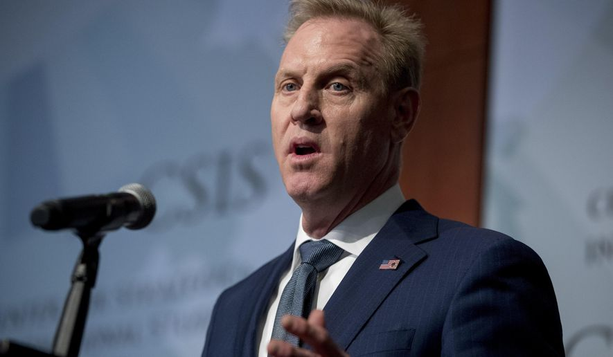 Acting Defense Secretary Patrick Shanahan speaks at the Center for Strategic and International Studies in Washington, Wednesday, March 20, 2019. (AP Photo/Andrew Harnik)