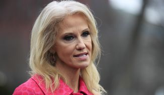 """FILE - In this Feb. 22, 2019 photo, Counselor to the President Kellyanne Conway speaks to reporters outside the West Wing of the White House in Washington.  President Donald Trump is escalating his increasingly awkward public fight with the spouse of a top aide. Trump is continuing to target Kellyanne Conway's husband on Twitter, calling him """"a stone cold LOSER"""" and """"husband from hell!"""" That's after George Conway, an attorney, repeatedly criticized Trump and questioned the president's mental health. (AP Photo/Manuel Balce Ceneta)"""