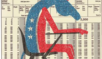 Illustration on Democrat ignorance on taxation by Linas Garsys/The Washington Times