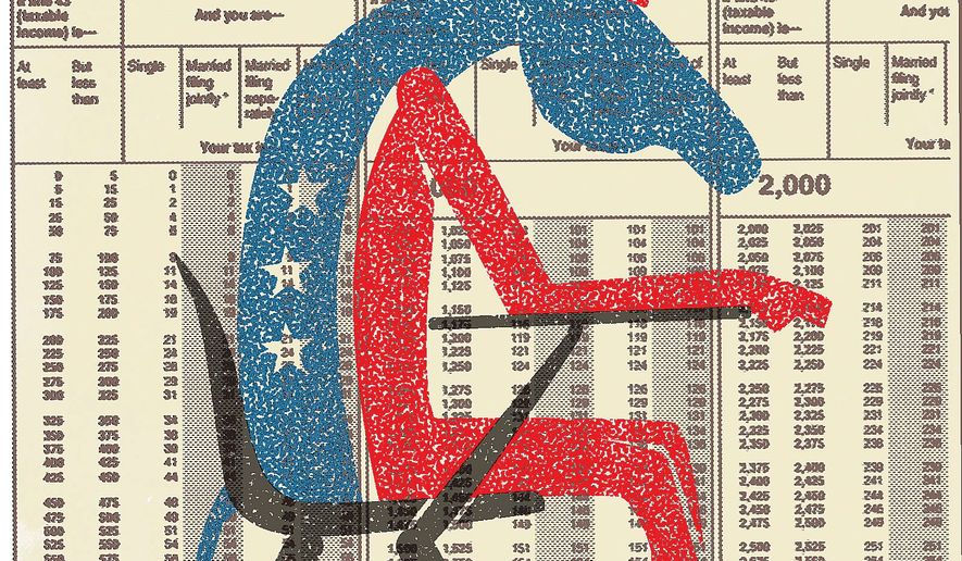 Illustration on Democrat ignorance on taxation by Linas Garsys/The Washington Times