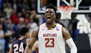 Maryland 's Bruno Fernando (23) celebrates during the final moments of the second half of a first round men's college basketball game against Belmont in the NCAA Tournament in Jacksonville, Fla., Thursday, March 21, 2019. (AP Photo/John Raoux)