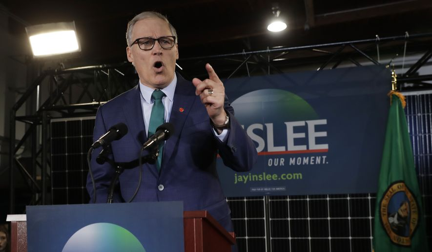 Even Washington Gov. Jay Inslee, who is making climate change the centerpiece of his campaign, wouldn't say whether he will offset his carbon. (Associated Press)