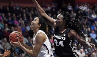Connecticut's Napheesa Collier, left, shoots as Central Florida's Fifi Ndour, right, defends during the second half of an NCAA college basketball game in the American Athletic Conference women's tournament finals, Monday, March 11, 2019, at Mohegan Sun Arena in Uncasville, Conn. (AP Photo/Jessica Hill)