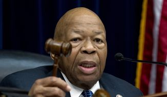 House Oversight and Reform Committee Chair Elijah Cummings, D-Md., speaks during the House Oversight Committee hearing on Capitol Hill in Washington, Thursday, March 14, 2019. (AP Photo/Jose Luis Magana)