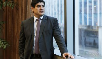 In this Monday, March 11, 2019, photo, Costa Rican president Carlos Alvarado poses for a photo before an interview with The Associated Press in Seattle. Alvarado said that Central America should not be satisfied until Nicaragua holds free elections and re-establishes a free press, democracy and human rights guarantees, and that turmoil in Nicaragua is having an impact on regional immigration and the economy. (AP Photo/Ted S. Warren)