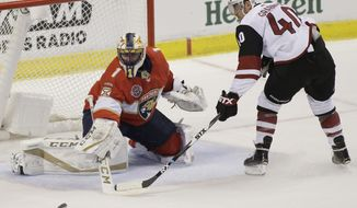 Florida Panthers goaltender Roberto Luongo (1) defends against Arizona Coyotes right wing Michael Grabner (40) during the second period of an NHL hockey game on Thursday, March 21, 2019, in Sunrise, Fla. (AP Photo/Terry Renna)