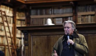 Former White House strategist Steve Bannon delivers his speech on the occasion of a meeting at Rome's Angelica Library, Thursday, March 21, 2019. (AP Photo/Gregorio Borgia)