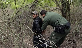 In this Thursday, March 14, 2019, photo, a Border Patrol agent apprehends a person suspected of having entered the U.S. illegally near McAllen, Texas. While many adults crossing the border on their own in South Texas try to flee agents, most migrant parents and children wait to surrender so they can be processed and released into the United States. (AP Photo/Eric Gay)
