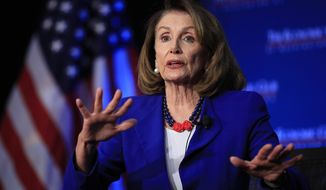 """FILE - In this Friday, March 8, 2019 file photo, House Speaker Nancy Pelosi of Calif., speaks at an Economic Club of Washington luncheon gathering in Washington. The day after Democrats swept to power, Speaker-to-be Nancy Pelosi stood before the cameras and declared impeachment was """"off the table."""" That was November 2006. More than a decade later, Pelosi, again facing a restive left flank that's now ready to confront President Donald Trump, says she's """"not for impeachment."""" It's a remarkably consistent stance from Pelosi who must lead the House through another moment when a vocal part of the electorate wants to end a presidency.  (AP Photo/Manuel Balce Ceneta, File)"""