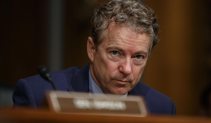 This March 5, 2019, file photo shows Sen. Rand Paul, R-Ky., pausing during a Senate Committee on Health, Education, Labor, and Pensions hearing on Capitol Hill in Washington. (AP Photo/Carolyn Kaster, File)