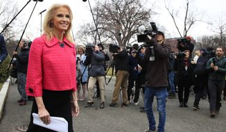 """FILE - In this Feb. 22, 2019, file photo, White House adviser Kellyanne Conway walks back towards the West Wing of the White House in Washington, after speaking to reporters. CNN's Dana Bash is learning the perils of doing personality profiles in a political city that's always on a war footing. She's received a social media roasting this week for featuring Conway as part of her ongoing feature series, """"Badass Women of Washington."""" It was first distributed online late Wednesday, March 20, and it's unclear how much of it has been shown on the television networks. (AP Photo/Manuel Balce Ceneta, File)"""