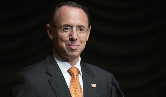 Deputy Attorney General Rod Rosenstein pauses while speaking at the federal inspector general community's 21st annual awards ceremony, in Washington. (AP Photo/Alex Brandon, File)