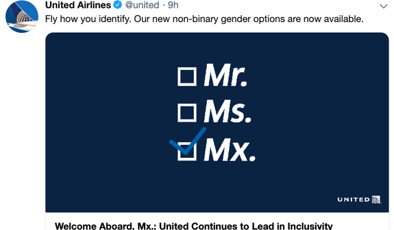 "United Airlines will now offer ""non-binary"" gender options for passengers. (Image: Twitter, United Airlines)"