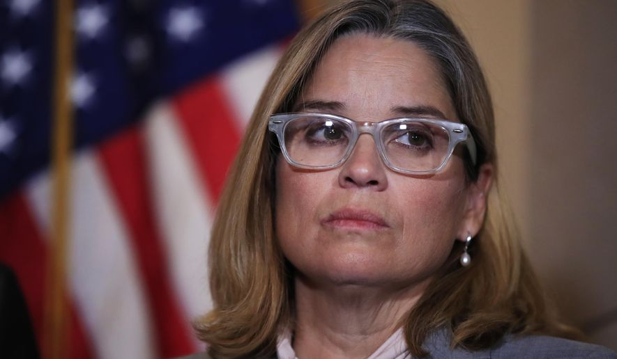 FILE - In this Nov. 1, 2017 file photo, San Juan, Puerto Rico Mayor Carmen Yulín Cruz attends a House Democratic Leaders news conference on Capitol Hill in Washington. Cruz announced Friday, March 22, 2019, that she is running for governor of the U.S. territory. (AP Photo/Manuel Balce Ceneta, File)
