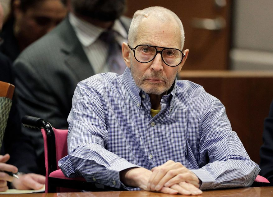 FILE - In this Dec. 21, 2016 file photo, Robert Durst sits in a courtroom in Los Angeles. The New York real estate heir Robert Durst is facing a new lawsuit that claims he killed his first wife and disposed of her body in 1982. A sister of Kathleen Durst filed a wrongful death claim Friday, March 22, 2019, accusing Durst of killing the woman in their suburban New York City home. (AP Photo/Jae C. Hong, Pool, File)