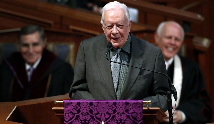 In this March 27, 2018, file photo, former President Jimmy Carter speaks during a funeral service for former and former Georgia Gov. Zell Miller, in Atlanta. Carter is now the longest-living president in American history. The 39th president on Friday, March 19, 2019, reached the age of 94 years, 172 days - one day beyond the lifespan of George H.W. Bush, who died in November. (AP Photo/John Bazemore, File)