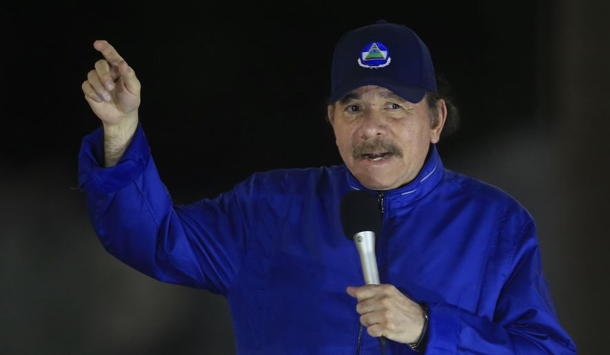 Nicaragua's President Daniel Ortega speaks during the inauguration ceremony of a highway overpass in Managua, Nicaragua, Thursday, March 21, 2019. (AP Photo/Alfredo Zuniga) ** FILE **