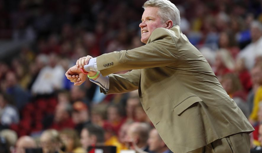 Iowa State head coach Bill Fennelly looks to an official for a call during the first half of a first round women's college basketball game against New Mexico State in the NCAA Tournament, Saturday, March 23, 2019, in Ames, Iowa. (AP Photo/Matthew Putney)