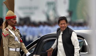 Pakistani Prime Minister Imran Khan arrives to attend a military parade to mark Pakistan National Day, in Islamabad, Pakistan, Saturday, March 23, 2019. (AP Photo/Anjum Naveed) ** FILE **