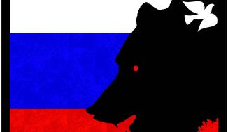 Illustration on the darkening situation in Russia by Alexander Hunter/The Washington Times