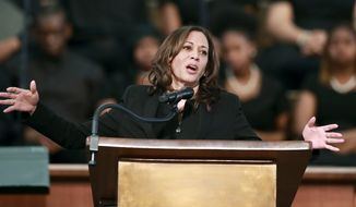 U.S. Sen. Kamala Harris, D-Calif., makes special remarks during the worship service at Ebenezer Baptist Church on Sunday, March 24, 2019, in Atlanta. The Democratic presidential candidate is one of several candidates to visit Georgia in the 2020 cycle. (Curtis Compton/Atlanta Journal-Constitution via AP)