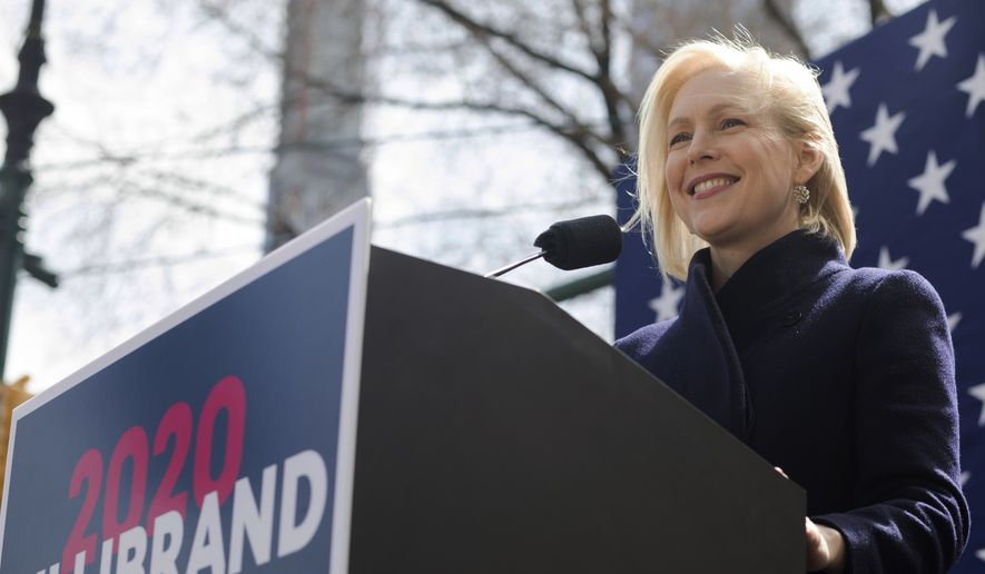 Sen. Kirsten Gillibrand, D-N.Y., speaks at the kickoff of her presidential campaign, Sunday, March 24, 2019, near the Trump International Hotel and Tower in New York. (AP Photo/Julius Constantine Motal)