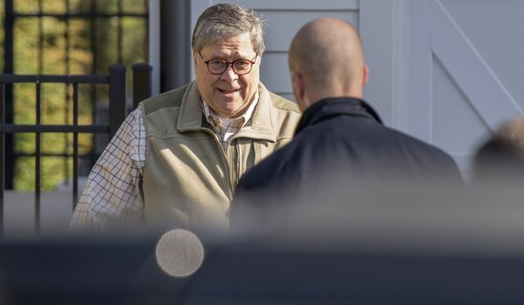 Attorney General William Barr leaves his home in McLean, Va., on Sunday morning, March 24, 2019. Barr is preparing a summary of the findings of the special counsel investigating Russian election interference.  The release of Barr's summary of the report's main conclusions is expected sometime Sunday.(AP Photo/Sait Serkan Gurbuz)