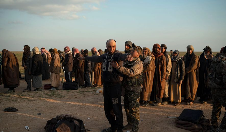 The Syrian Democratic Forces fighters who drove the Islamic State from its last strongholds called Monday for an international tribunal to prosecute thousands of foreign Islamic State fighters rounded up in the campaign against the extremist group. (ASSOCIATED PRESS)