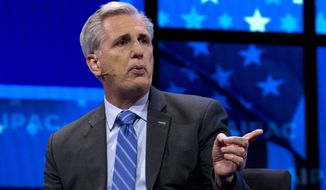 House Minority Leader Kevin McCarthy of Calif., speaks at the 2019 American Israel Public Affairs Committee (AIPAC) policy conference, at Washington Convention Center, in Washington, Monday, March 25, 2019. (AP Photo/Jose Luis Magana)