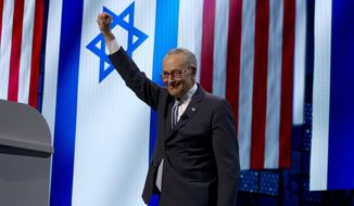 Senate Minority Leader Chuck Schumer, D-N.Y., prepares to speak at the 2019 American Israel Public Affairs Committee (AIPAC) policy conference, at Washington Convention Center, in Washington, Monday, March 25, 2019. (AP Photo/Jose Luis Magana)