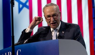 Senate Minority Leader Chuck Schumer, D-N.Y., speaks at the 2019 American Israel Public Affairs Committee (AIPAC) policy conference, at the Washington Convention Center, in Washington, Monday, March 25, 2019. (AP Photo/Jose Luis Magana)
