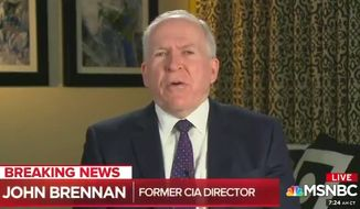 Former CIA Director John O. Brennan, a close aide to President Obama, for months talked to MSNBC about a traitorous relationship between President Trump and Russian President Vladimir Putin and predicted that Trump people would be indicted on conspiracy charges. When it didn't happen, he said he may have been misinformed. (MSNBC)