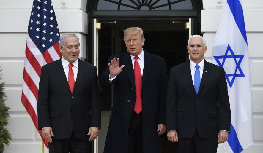President Donald Trump and Vice President Mike Pence, greet Israeli Prime Minister Benjamin Netanyahu to the South Lawn of the White House in Washington, Monday, March 25, 2019. (AP Photo/Susan Walsh)