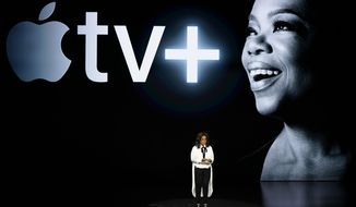 Oprah Winfrey speaks at the Steve Jobs Theater during an event to announce new Apple products Monday, March 25, 2019, in Cupertino, Calif. (AP Photo/Tony Avelar)