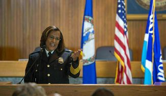 Portsmouth Police Chief Tonya Chapman makes remarks after an oath of office ceremony at the City Council Chambers in Portsmouth, Va.  (Hyunsoo Leo Kim/The Virginian-Pilot via AP) **FILE**