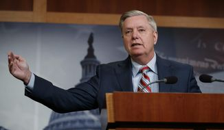 Sen. Lindsey Graham, R-S.C., speaks during a news conference on Capitol Hill in Washington, Monday, March 25, 2019. (AP Photo/Carolyn Kaster)
