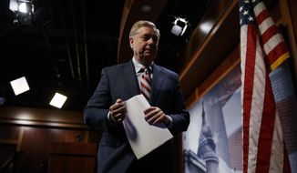 Sen. Lindsey Graham, R-SC., walks from the podium after speaking at a news conference on Capitol Hill in Washington, Monday, March 25, 2019. (AP Photo/Carolyn Kaster)