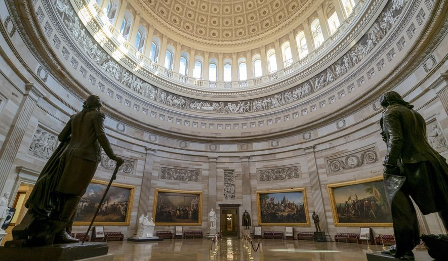 The Capitol Rotunda is seen in Washington, Monday, March 25, 2019, as Democrats vowed to press ahead with their multiple investigations into the president and whether he obstructed justice after special counsel Robert Mueller did not find that President Donald Trump or his campaign colluded with Russians to interfere in the 2016 presidential election. (AP Photo/J. Scott Applewhite)