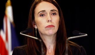 New Zealand Prime Minister Jacinda Ardern addresses a press conference in Wellington, New Zealand Monday, March 25, 2019. Ardern has announced a top-level inquiry into the circumstances surrounding the massacre of 50 people in two Christchurch mosques on March 15. (AP Photo/Nick Perry)