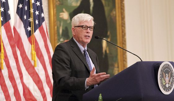 In this March 9, 2017 photo provided by the Richard Nixon Foundation, Hugh Hewitt speaks at the Nixon Library in Yorba Linda, Calif. Radio show host Hugh Hewitt has been tapped to head a foundation focused on preserving the legacy of former President Richard Nixon. The Richard Nixon Foundation said Monday, March 25, 2019 that the politically conservative author, commentator and law professor will become its next chief executive in July. The foundation says Hewitt helped start Nixon's presidential library and museum in Yorba Linda, Calif., nearly three decades ago. (Richard Nixon Foundation via AP)