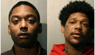 This combination of March 2019 booking photos released by the Chicago Police Department shows Menelik Jackson, left, and Jovan Battle. The two men are charged with first-degree murder in the weekend slaying of an off-duty Chicago officer who was repeatedly shot while sitting in a parked car. Chicago police announced Monday, March 25 that Jackson, of South Holland, and Battle, of Chicago, were arrested for allegedly firing at the car in the River North neighborhood, killing John Rivera. They're expected in court Monday.  (Chicago Police Department via AP)