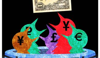 Illustration on the dominance of the dollar by Alexander Hunter/The Washington Times