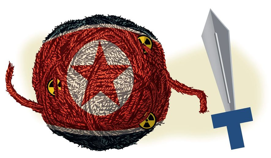 Illustration on dealing with North Korea by Alexander Hunter/The Washington Times