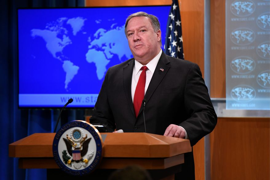 Secretary of State Mike Pompeo is shown here in a March 26, 2019 news conference. (ASSOCIATED PRESS)