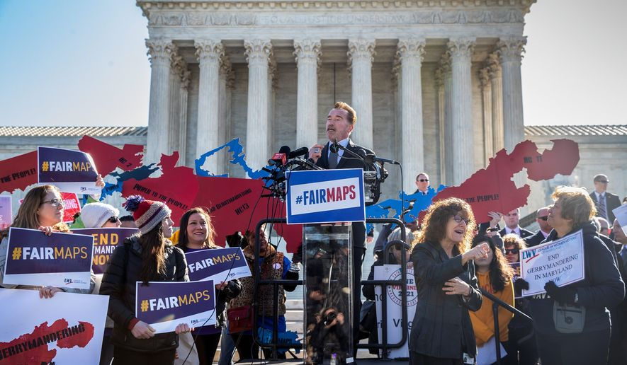 Former California Gov. Arnold Schwarzenegger speaks at a rally calling for Fair Maps at the Supreme Court on Tuesday. The justices struggled to come up with a formula for when gerrymandering went too far. (Associated Press)