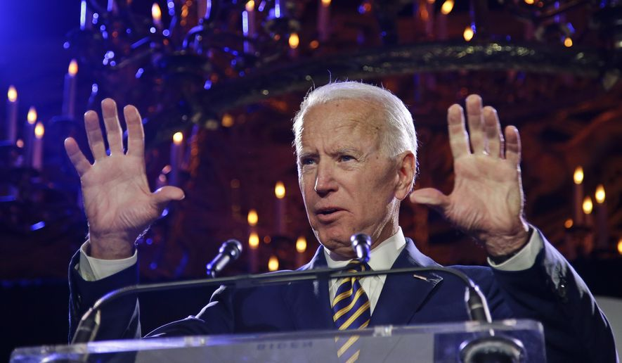 Former Vice President Joe Biden speaks at the Biden Courage Awards Tuesday, March 26, 2019, in New York. (AP Photo/Frank Franklin II) ** FILE **