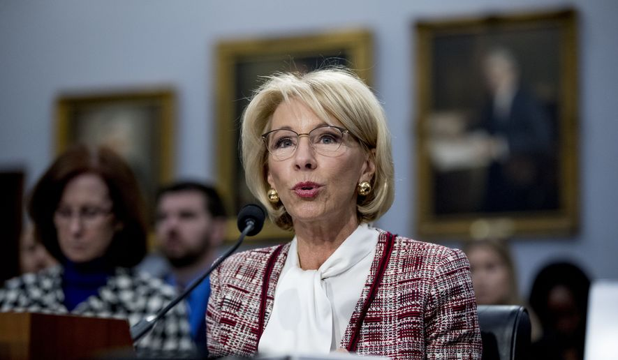 Education Secretary Betsy DeVos speaks during a House Appropriations subcommittee hearing on budget on Capitol Hill in Washington, Tuesday, March 26, 2019. (AP Photo/Andrew Harnik) **FILE**